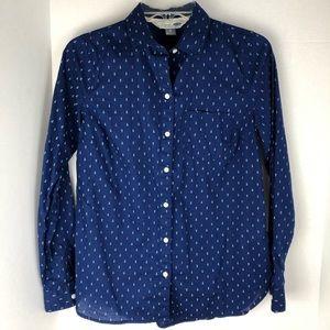 Old Navy Anchor Print Blue Button Down Shirt
